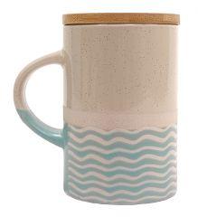 Mug Pot bleu vagues avec couvercle en bois GM
