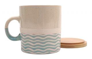 Mug Pot bleu vagues avec couvercle en bois PM