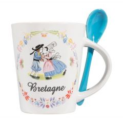 "Mug bleu + cuillère collection ""bisou breton"""